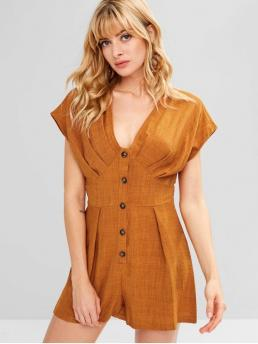 Spring and Summer No Solid Short Plunging Regular Fashion Casual Plunge Button Detail Romper