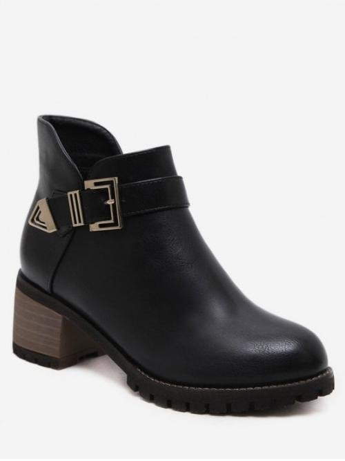 PU Buckle Slip-On Solid 5CM Chunky Round Ankle Winter Fashion For Buckle Strap Mid Block Heel Short Boots