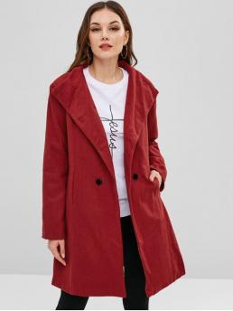 Autumn and Winter Yes Button and Front Solid Double Stand-Up Full Long Slim Wool Daily Fashion Belted Double Breasted Woolen Coat