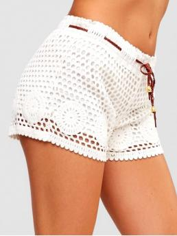 Spring and Summer Solid Flat Drawstring Mid Regular Fashion Openwork Crochet Shorts