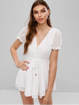 Summer No Button Solid Nonelastic Short V-Collar Mini Regular Fashion Daily and Vacation Drawstring Textured Half Buttoned Romper
