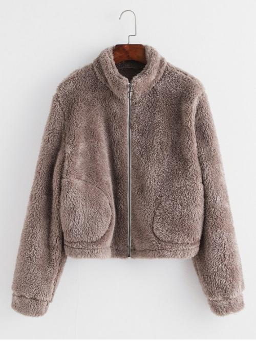 Autumn and Winter No Pockets Solid Zipper Stand-Up Full Regular Wide-waisted Fur Daily Casual Zip Up Pocket Plush Coat