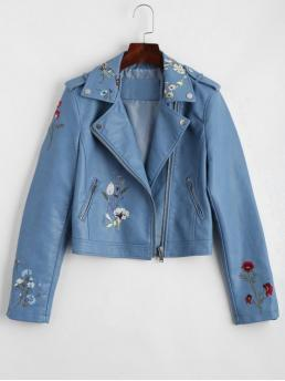 Patch Floral Lapel Full Wide-waisted Fashion Jackets Floral Patched Zippered Faux Leather Jacket