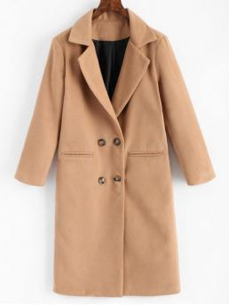Solid Lapel Full Wide-waisted Casual Double Breasted Lapel Coat with Pockets
