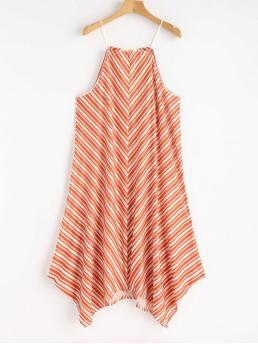 No Summer Striped Sleeveless Spaghetti Mini Asymmetrical Day and Vacation Fashion Swing Stripes Asymmetrical Dress