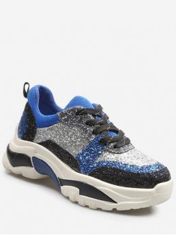 Spring/Fall Sequined Rubber Others Lace-Up For Glitter Color Block Platform Sneakers