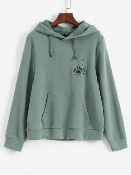 Autumn and Winter Embroidery and Front Others Full Regular Hooded Hoodie Embroidered Fleece Lined Kangaroo Pocket Hoodie