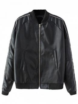 Print Stand-Up Full Wide-waisted Fashion Jackets Zip Up Heart Braided Faux Leather Jacket