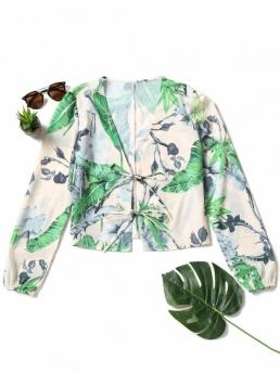 Spring Plant Full Regular Nonelastic Plunging Fashion Casual Front Tied Palm Leaf Blouse