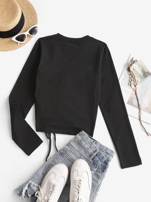 Womens Full Sleeve Cotton,polyester Solid Black Cinched Long Sleeve t Shirt