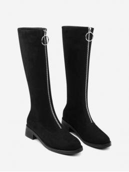 Suede Zip Solid 4CM 38CM Chunky Round Mid-Calf Spring/Fall and Winter Fashion For Front Zipper Chunky Heel Mid Calf Boots