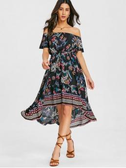 Spring and Summer No Floral Short Off Mid-Calf Off Asymmetrical Beach Brief Floral Asymmetrical Off Shoulder Midi Dress