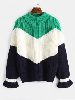 Autumn and Winter Others Elastic Full Drop Crew Regular Regular Fashion Daily Pullovers Chunky Knit Color Block Sweater