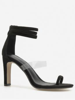 PU Rubber Others Zip Platform Ankle Daily and Party Fashion For Metallic Toe Loop Chunky Heel Sandals