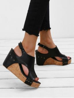 Summer PU Rubber Solid Buckle Wedge Ankle Daily Leisure For Wedge Heel Casual Slingback Sandals