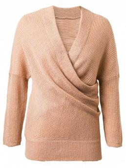 Fall and Spring and Winter Solid Fashion V-Collar Full Pullovers Crossover Sweater