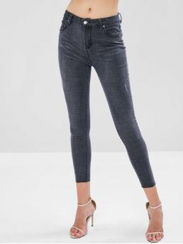 Fall and Spring and Winter Pocket Skinny Ninth Dark Fashion Distressed High Waisted Skinny Jeans