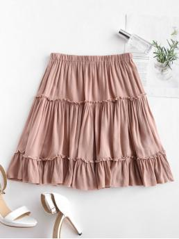 Nonelastic Fall and Spring and Summer Elastic Ruffles Solid A-Line Mini Daily Leisure Frilled Ruffles Skirt