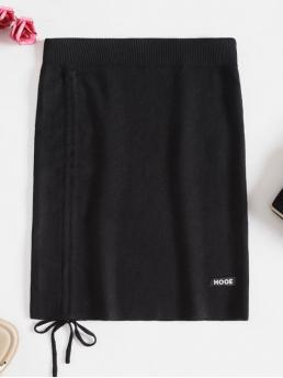 Fall Elastic Letter Sheath Mini Daily Leisure Cinched Letter Patched Sheath Skirt