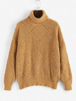 Cheap Full Sleeve Pullovers Cotton,polyester Solid Turtleneck Pointelle Knit Chenille Sweater