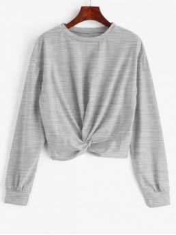 Solid Full Short Drop Sweatshirt Twist Front Plain Sweatshirt