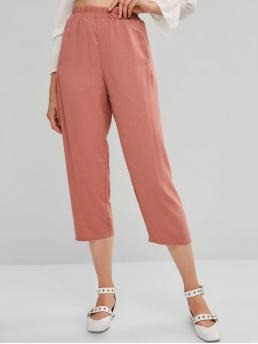 Fall and Spring Elastic Straight Solid Pockets Regular High Casual High Rise Pocket Plain Straight Pants