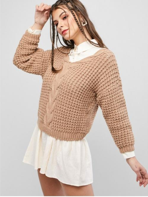 Autumn and Winter Solid Nonelastic Full Drop V-Collar Regular Loose Casual Daily Pullovers Drop Shoulder V Neck Chunky Sweater