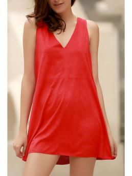Spring and Summer No Solid Sleeveless Mini A-Line V-Collar Casual Red Faux Suede Plunging Neck Sleeveless Dress