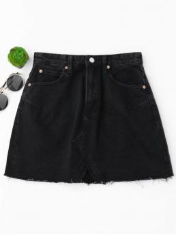Black No Others A-Line Mini Denim High Waisted Cutoffs Mini Denim Skirt