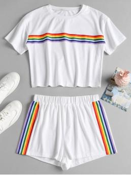 No Summer Patch Striped Flat Elastic Mid Short Round Regular Casual Daily and Going Striped Patched Shorts Set