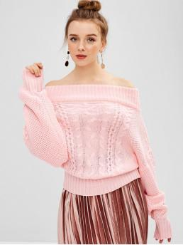 Autumn and Spring Solid Elastic Full Off Regular Regular Elegant Pullovers Off Shoulder Cable Knit Dolman Sweater