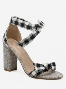 Summer Denim 9CM Rubber Bow Plaid Lace-Up Chunky Ankle Daily Fashion For Bow Strap Plaid Chunky Heel Sandals