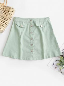 Spring and Summer Button Solid A-Line Mini Daily Fashion Button Fly A Line Mini Skirt