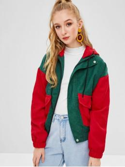 Nonelastic Autumn and Spring and Winter Pockets Patchwork Hooded Full Regular Wide-waisted Fashion Jackets Daily Color Block Corduroy Hooded Jacket