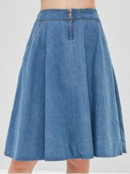 Nonelastic Fall and Spring and Winter Zipper Pockets Solid A-Line Knee-Length Daily Leisure Zipper Fly Denim Skirt