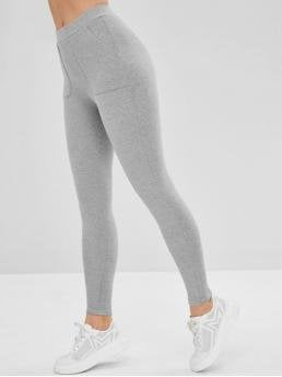 Fall and Winter Pockets Solid Elastic Mid Daily and Going Casual Mid Rise Pocket Leggings