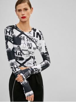 Letter Full Round Casual Letter Print Cropped Tee