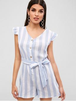 Summer Yes Striped Short V-Collar Mini Regular Fashion Daily Striped Half Button Belted Romper