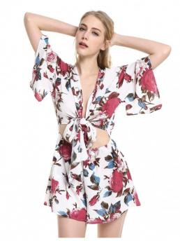 ZAN.STYLE Floral Knot Front Playsuit