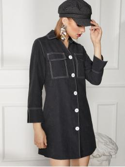 No Fall Others Long Shirt Mini Shirt Sheath Casual and Day and Work Fashion Topstitched Button Up Work Shirt Dress