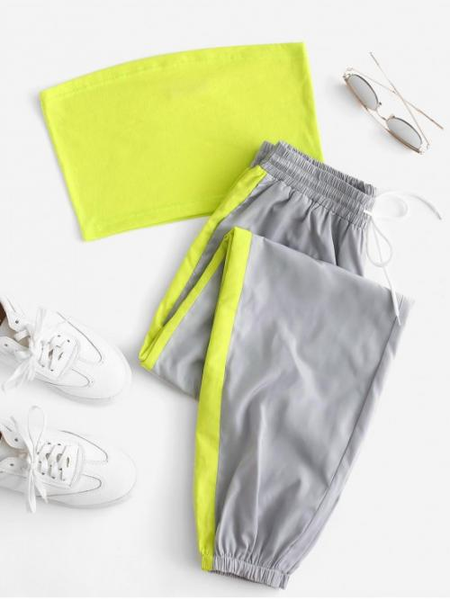 Fall Patchwork Flat Drawstring High Sleeveless Bandeau Regular Casual Casual and Sports Bandeau Top and Contrast Jogger Pants Set
