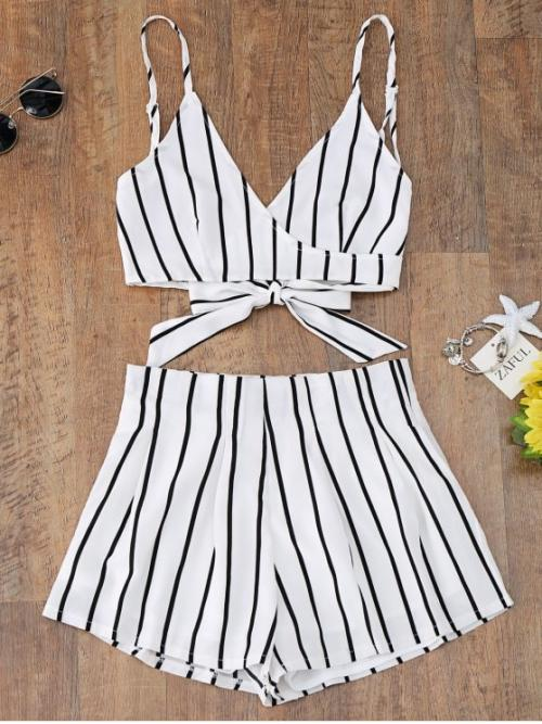Striped For Bottoms and Top Striped Cami Wrap Top and Shorts