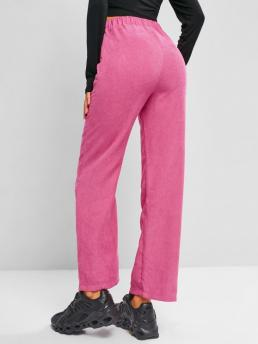 Deep Pink Solid Regular Normal Waisted Corduroy Straight Pants Shopping