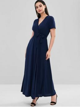 Fall and Spring Yes Solid Short V-Collar Ankle-Length Belted Crossover Maxi Dress