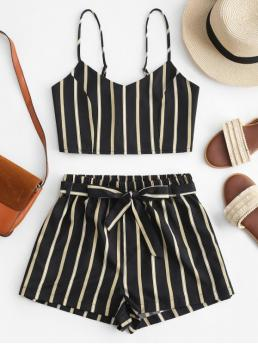 Yes Summer Belted Striped Flat Elastic High Sleeveless Spaghetti Regular Casual Casual Striped Cami Belted Shorts Set