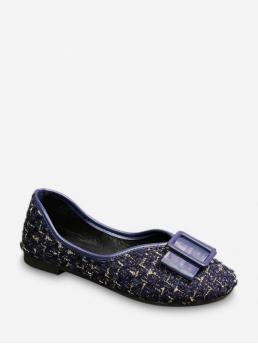 Spring/Fall and Summer Plaid Daily Fashion Synthetic Rubber Slip-On Round Closed 1CM For Slip-On Bow Tweed Round Toe Slip On Flats