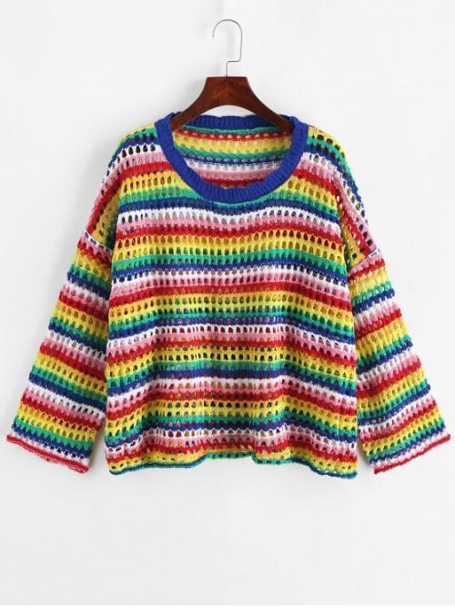 Autumn Openwork Rainbow and Striped Nonelastic Full Drop Round Regular Loose Fashion Daily and Going Pullovers Rainbow Striped Open Knit Drop Shoulder Sweater