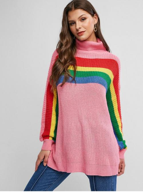 Autumn and Spring and Winter Striped Elastic Full Drop Turtlecollar Regular Loose Fashion Daily Pullovers Drop Shoulder Rainbow Stripes Turtleneck Sweater