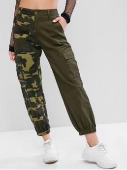 Fall Zipper Jogger Camo Pockets Loose High Casual Camouflage Pockets Loose Jogger Pants