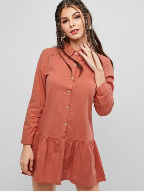 No Fall and Spring Solid Long Turn-down Mini A-Line Casual and Day Casual Long Sleeve Button Up Drop Waist Shirt Dress